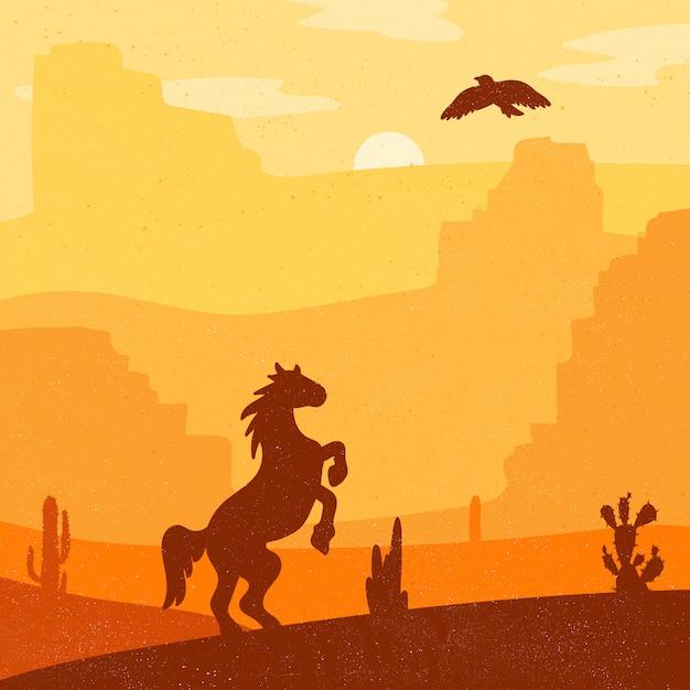 Ретро дикий запад скакал в пустыне. старинный закат в прерии с мустангом Premium векторы