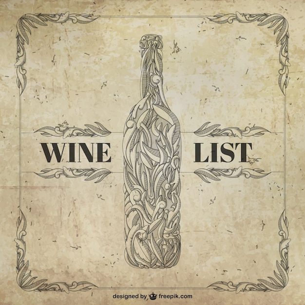 Retro Wine List Free Vector  Free Wine List Template