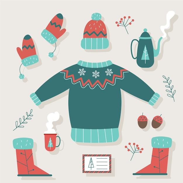 レトロな冬服と必需品 無料ベクター