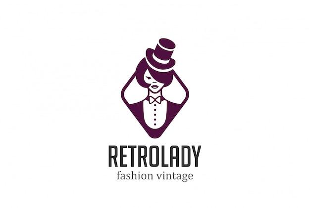 Retro woman in hat logo vector vintage icon. Free Vector
