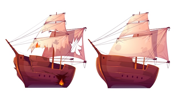 Retro wooden ships with white sail cartoon Free Vector