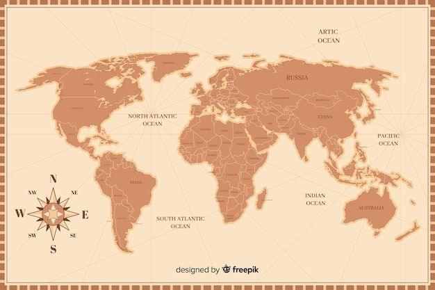 Retro world map in detail Free Vector