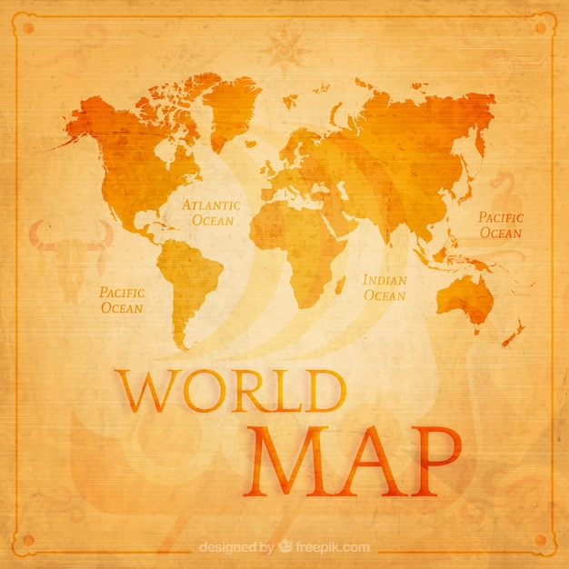 Retro world map in orange tones Free Vector