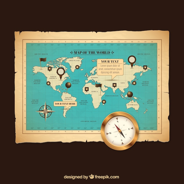 Download vector retro world map in orange tones vectorpicker retro world map gumiabroncs Gallery