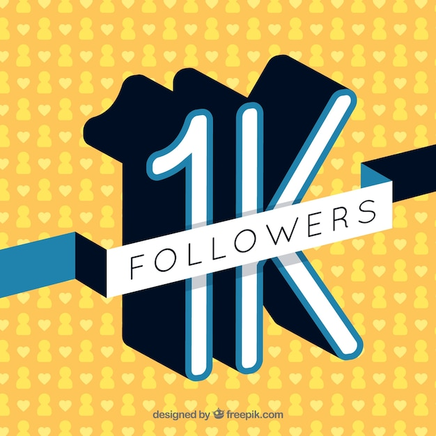 Retro yellow background of 1k followers