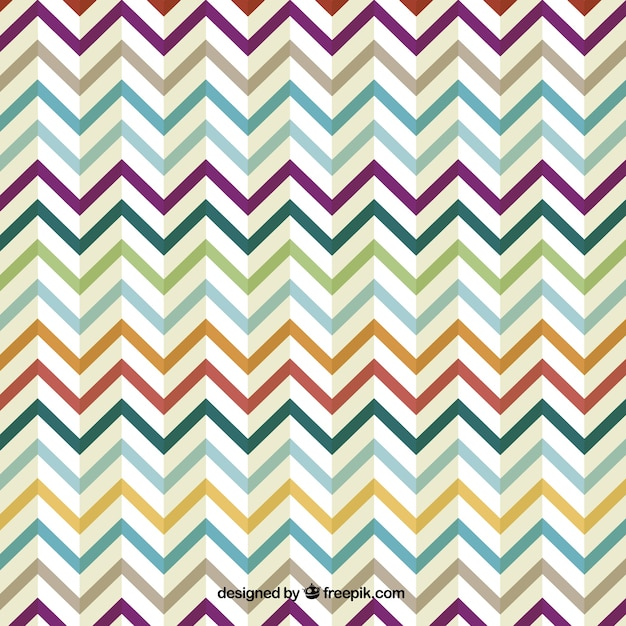 Retro zig zag colorful design Free Vector