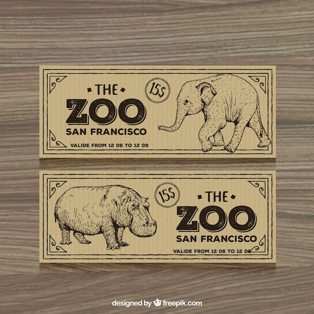 Retro zoo tickets with hand drawn elephant and\ hippotamus