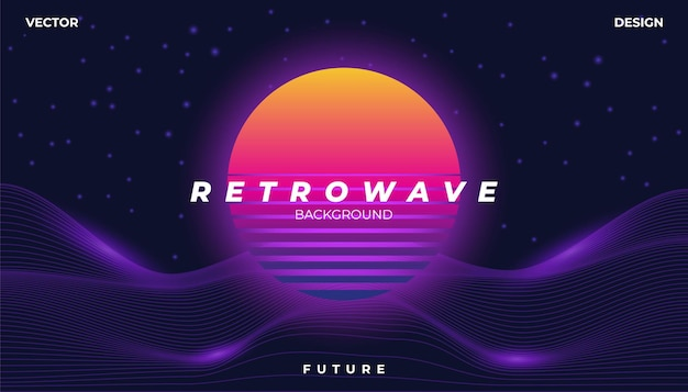 Retrowave cyber neon background landscape 80s styled. Premium Vector