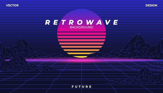 Retrowave cyber neon background landscape 80s styled. Premium Vector