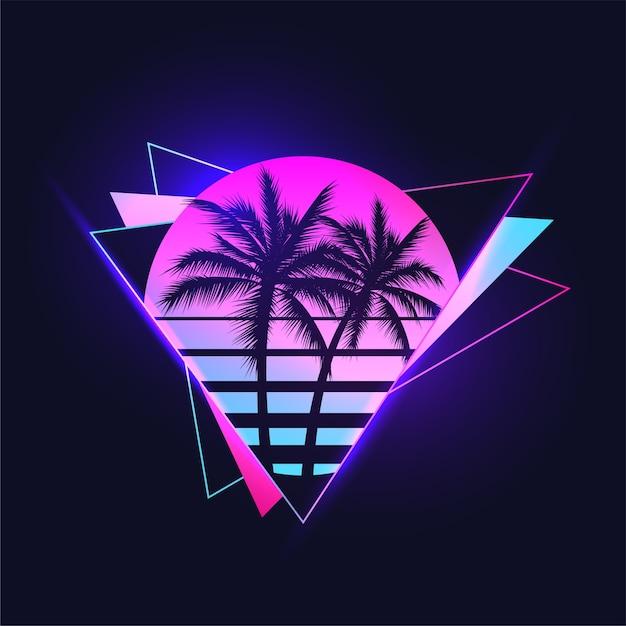 ビンテージのグラデーションのretrowaveまたはsynthwaveまたはvaporwave審美的なイラスト色の抽象的な三角形の背景にヤシの木のシルエットと夕日 Premiumベクター