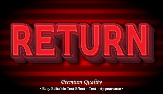 Return  editable text style effect Premium Vector
