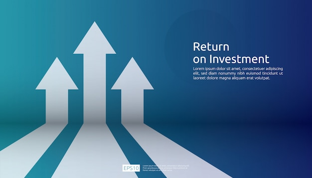 Return on investment roi. chart increase profit Premium Vector