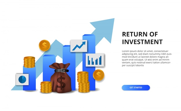 Return on investment roi, profit opportunity concept. business finance growth to success. bar chart presentation concept with arrow Premium Vector