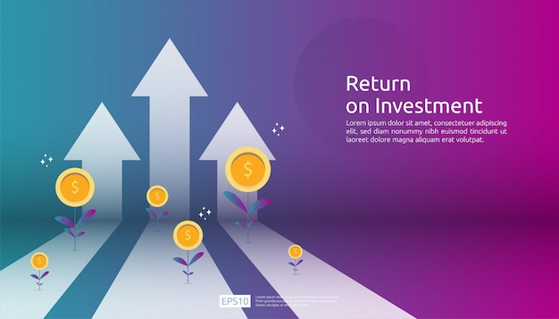 Return on investment roi, profit opportunity concept. business growth arrows to success. arrow with