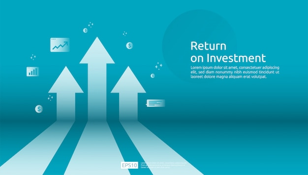 Return on investment roi, profit opportunity concept. business growth arrows to success. arrow with dollar plant coins, graph and chart increase. Premium Vector
