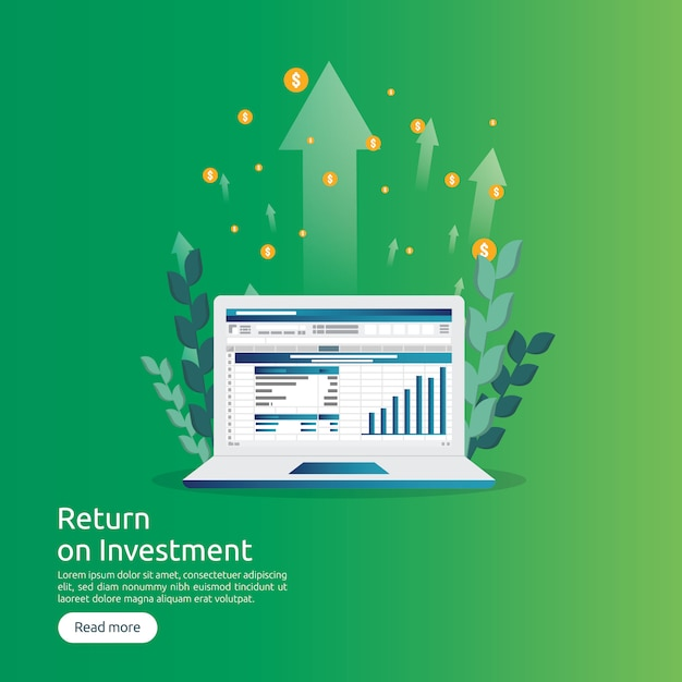Return on investment roi and seo data analytic concept Premium Vector
