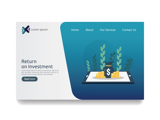 Return on investment roi and seo data analytic landing page Premium Vector