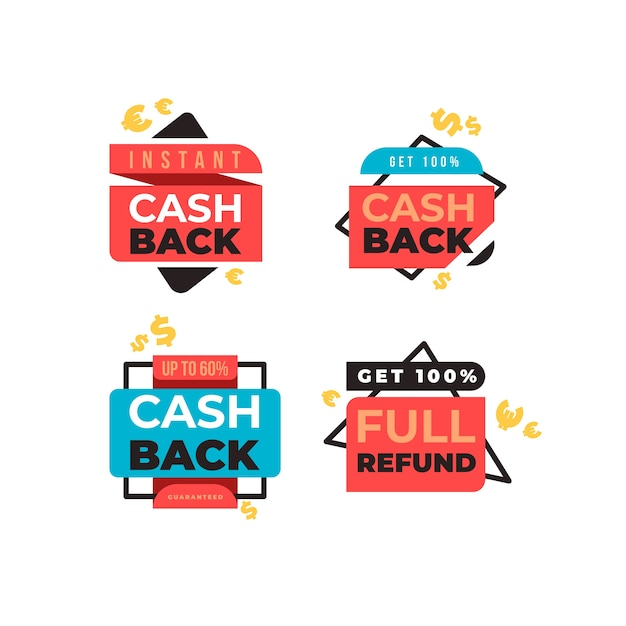 Return of money from purchases labels Free Vector
