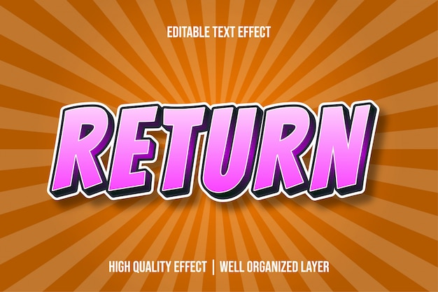 Вернуть pinky s текстовый эффект в стиле комиксов Premium векторы