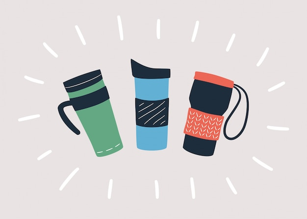 Reusable cups, thermo mug and tumblers with cover for take away hot coffee or tea. hand drawn object. Premium Vector