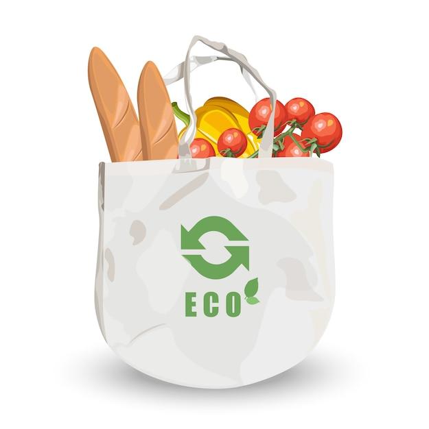 Borsa ecologica in tessuto riutilizzabile con generi alimentari all'interno. pane, pomodori e zucca Vettore gratuito