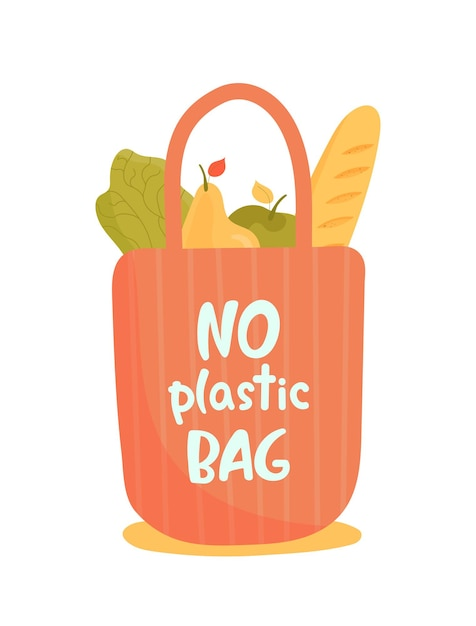Reusable grocery eco bag with fruits, vegetables, baguette Premium Vector