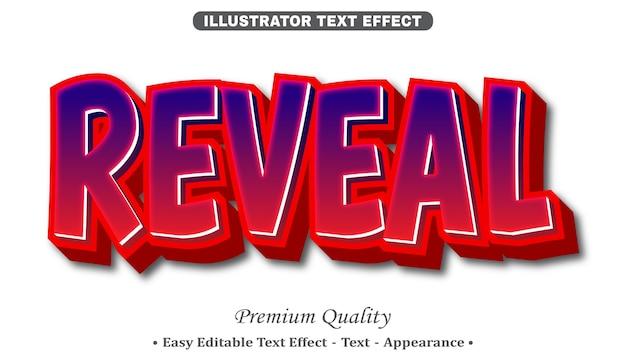 Reveal 3d editable text style effect Premium Vector
