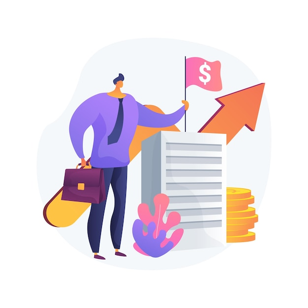 Revenue agency abstract concept vector illustration. tax law, remit gst and hst, business number registration, savings and pension plan, payroll account, family benefit, charity abstract metaphor. Free Vector