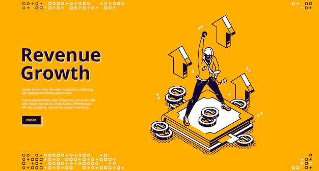 Revenue growth isometric landing page high expense Free Vector