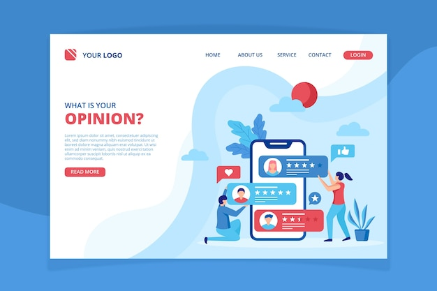 Review concept landing page template Free Vector