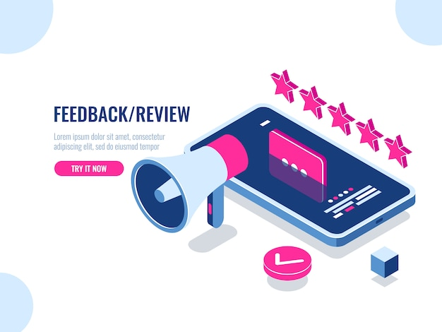 Review on the internet, content rating and management isometric, positive review Free Vector