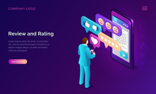 Review and rating isometric landing page banner Free Vector