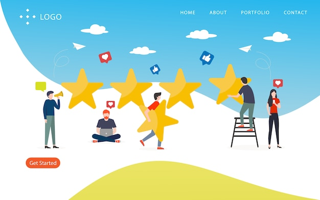 Review rating, website template,  layered, easy to edit and customize, illustration concept Premium Vector