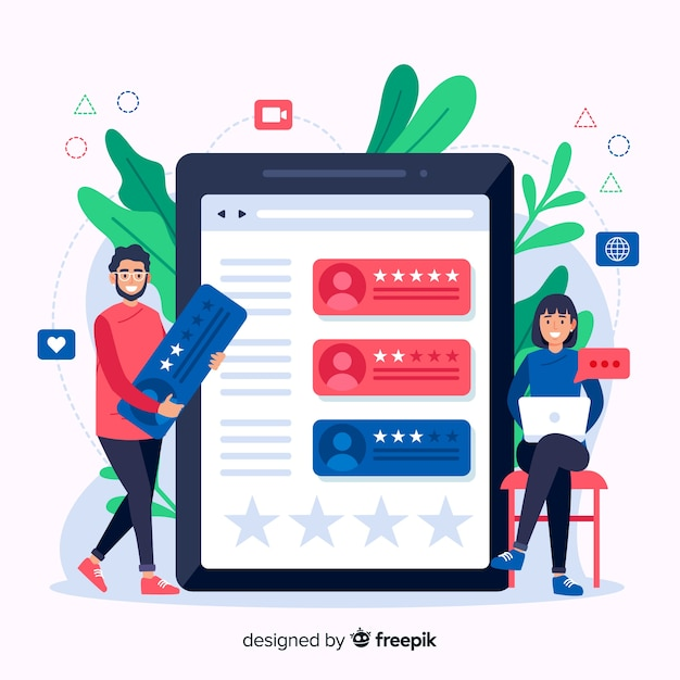 Reviews concept illustration in flat design Free Vector
