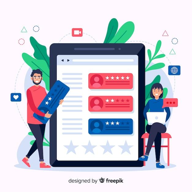 Reviews concept illustration in flat design Premium Vector