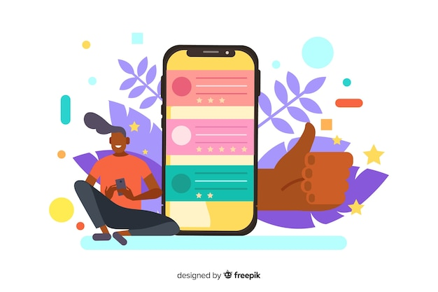 Reviews concept illustration for landing page Free Vector