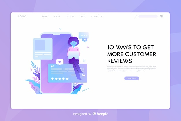 Reviews concept landing page Free Vector