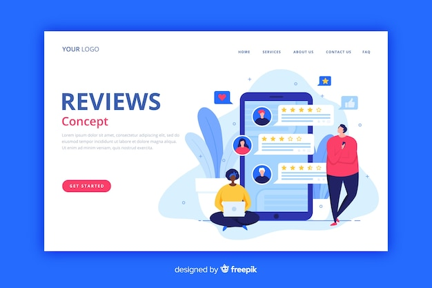 Reviews landing page flat style Free Vector