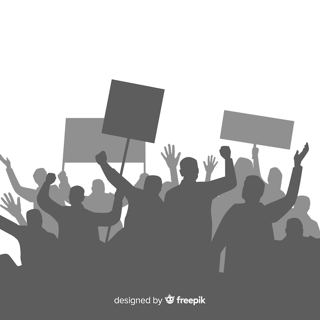 Revolution composition with silhouette of people protesting Free Vector
