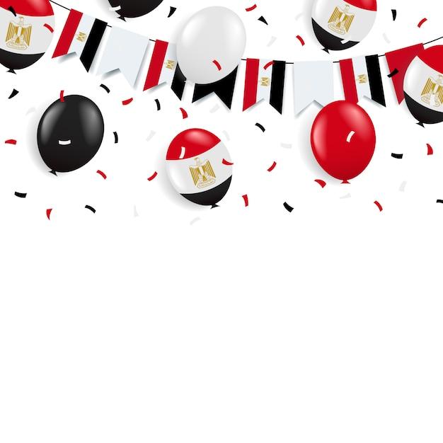 革命の日エジプト。旗と風船のガーランド。 Premiumベクター