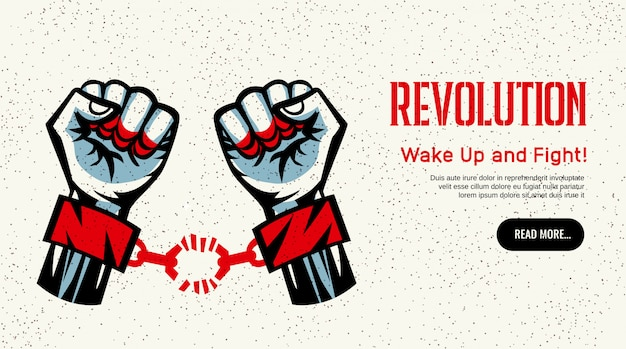 Rivoluzione che diffonde il sito web costruttivista design stile vintage costruttivista con manette rotte lotta per il concetto di libertà Vettore gratuito