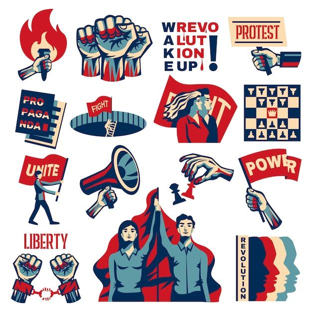 Революция социализм, поощряющий конструктивистский набор с властью, свободой, единство, борьба за свободу, символы, винтаж, изолированный Бесплатные векторы