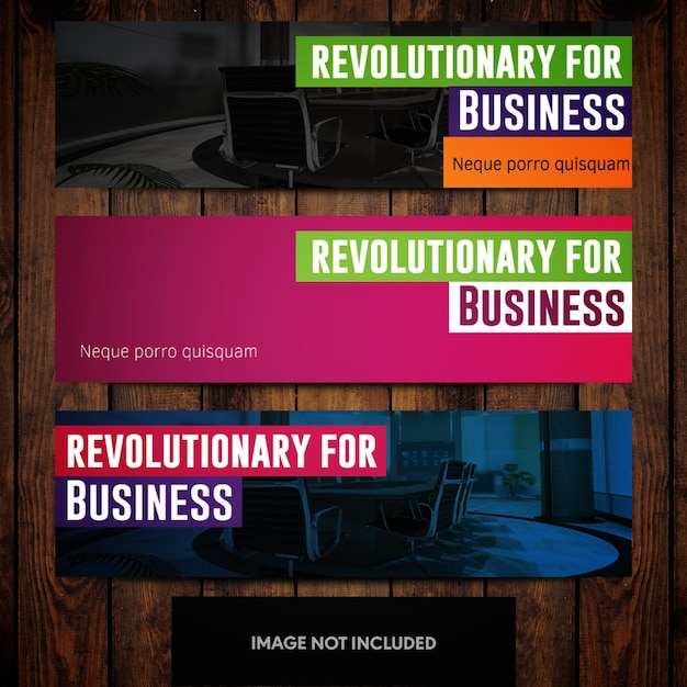 Revolutionary business banner design templates with multicolored office background