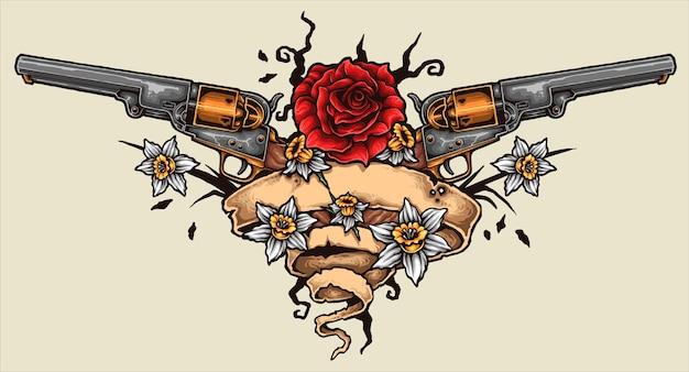 Revolver tattoo Premium Vector