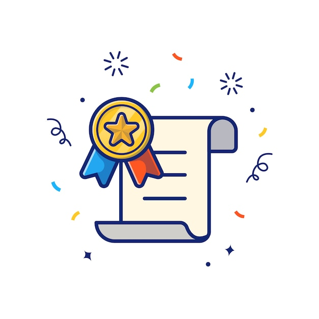 Reward certificate with gold medal  icon . certificate and medal, reward icon  white isolated Premium Vector