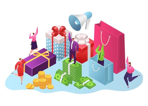 Вознаграждение, подарочные коробки и денежная концепция, изолированные на белом Premium векторы
