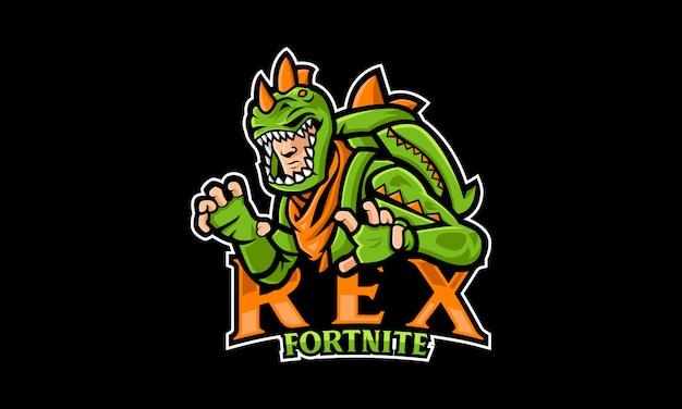 Rex динозавр esports logo Premium векторы
