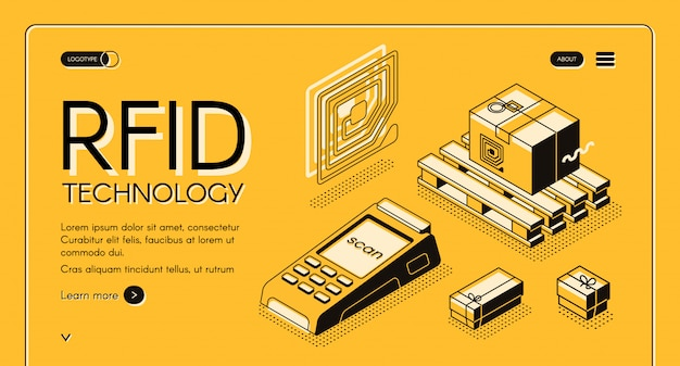 Rfid technology for delivery tracking isometric web banner. Free Vector