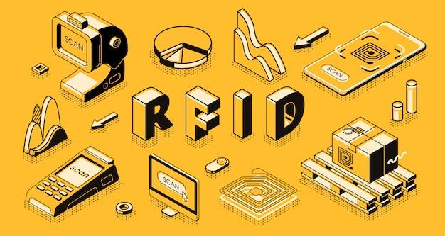 Технология радиочастотной идентификации изометрические вектор концепции с rfid-считыватель или сканер Бесплатные векторы