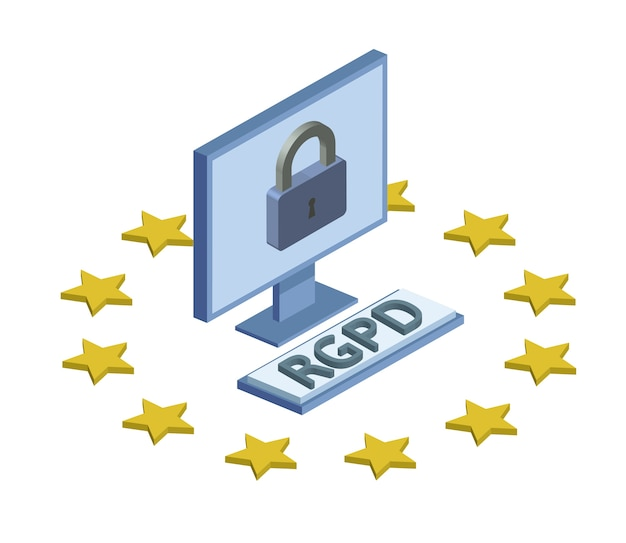 Rgpd, spanish, french and italian version version of gdpr. general data protection regulation. concept isometric illustration. the protection of personal data. isolated on white background. Premium Vector